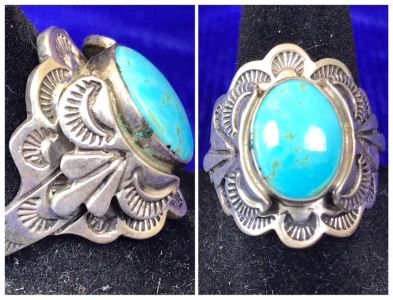 Vintage Signed Sterling Silver Turquoise Ring 11.8g Size 9.5