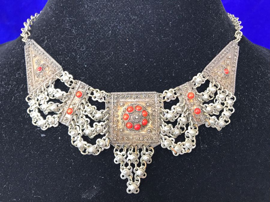 Stunning Vintage Signed Sterling Silver Necklace 24.4g [Photo 1]