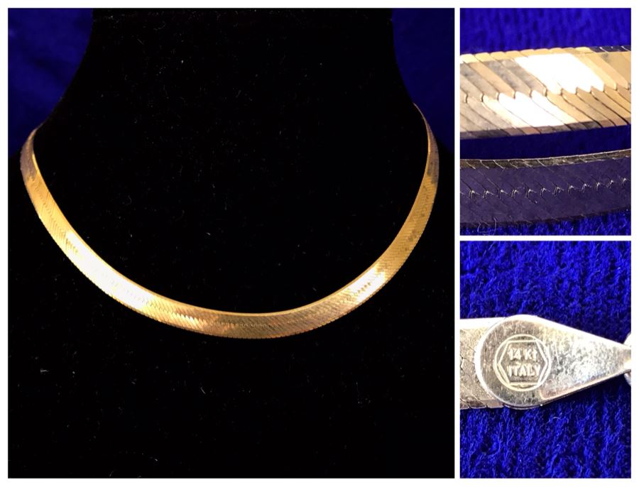 14K Gold Herringbone Chain Necklace Italy 14.5g [Photo 1]