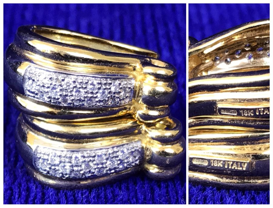 18K Gold Pave Diamond Hoops Earrings Italy 9.5g .25CTTW FMV $800 [Photo 1]