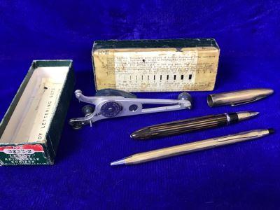 Vintage 14K Gold Sheaffer's Fountain Pen, Cross Ballpoint Pen And Leroy Adjustable Scriber Lettering Kit With Box