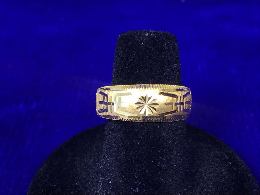 JUST ADDED - 24K 995 Gold Signed Asian Ring Size 6 Heavy 7.9g [Photo 1]
