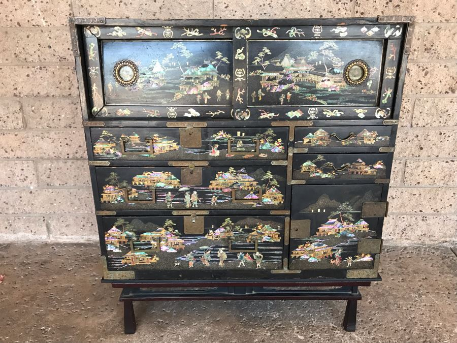 Stunning Antique Japanese Mother Of Pearl Inlay Tansu Chest Cabinet - See Details [Photo 1]