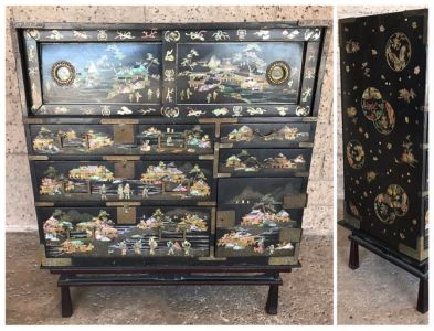 Stunning Antique Japanese Mother Of Pearl Inlay Tansu Chest Cabinet - See Details