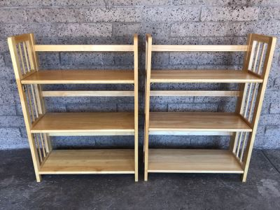 Pair Of Collapsible Wooden Bookshelves 27.5'W X 12'D X 38'H
