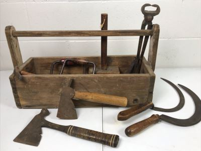 Vintage Wooden Toolbox Filled With Old Woodworking Tools, Blacksmith Tools, (2) Hatchets, (2) Scythes