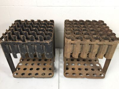 Pair Of Vintage Metal Holders Containers For Garden Tools