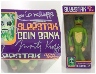 Signed New In Box Funko Sleestak Coin Bank From Land Of The Lost Signed By Sid and Marty Krofft