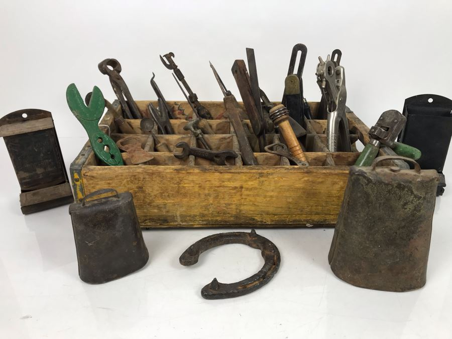 Vintage Coca-Cola Bottle Carrying Crate Filled With Various Vintage Tools, Pair Of Metal Match Box Holders, Pair Of Hand Wrought Cowbells - See Photos [Photo 1]