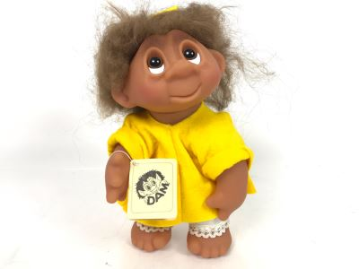 Vintage DAM Troll Doll By Thomas Dam From Denmark Troll Company Classic Girl No. 6045 With Tags 9'H