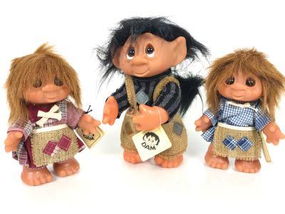 (3) Vintage DAM Troll Dolls By Thomas Dam From Denmark Troll Company (1) 9'H (2) 7'H