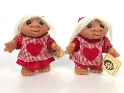 Pair Of Vintage DAM Troll Dolls By Thomas Dam From Denmark Troll Company Nisse Pige No. 25024 6'H
