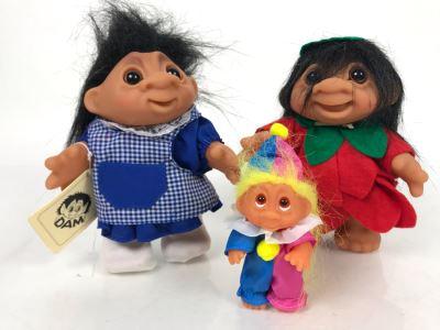 (3) Vintage DAM Troll Dolls By Thomas Dam From Denmark Troll Company Pigetrold No. 2545