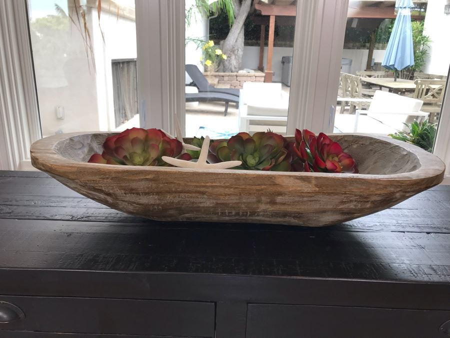 Carved Wooden Dough Bowl Centerpiece Filled With Faux Plants And Seashells And Glass Float 31 X 15 [Photo 1]