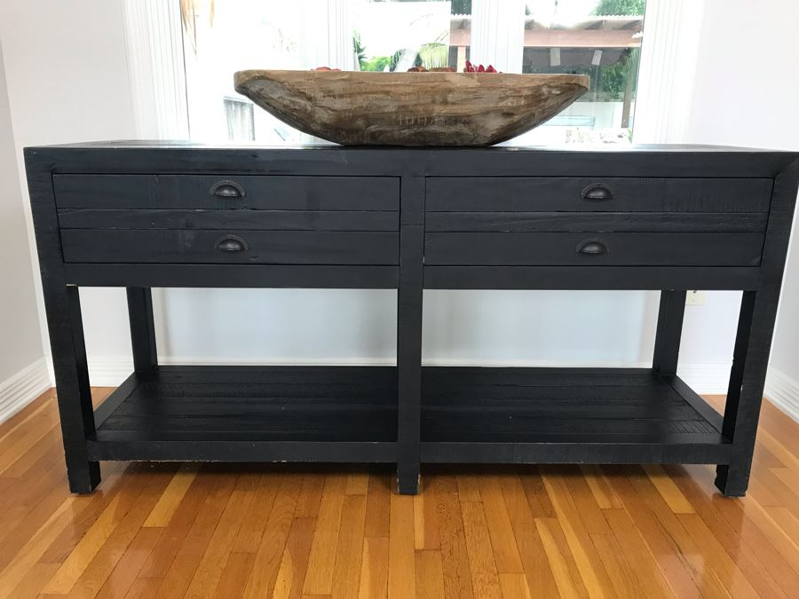 Wooden Console Entry Table In Black With 2-Drawers 60W X 18D X 30H [Photo 1]