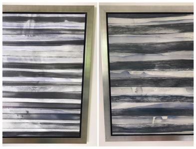 Pair Of Borderlines V Canvas Prints With Wooden Silvered Frame 24 X 30