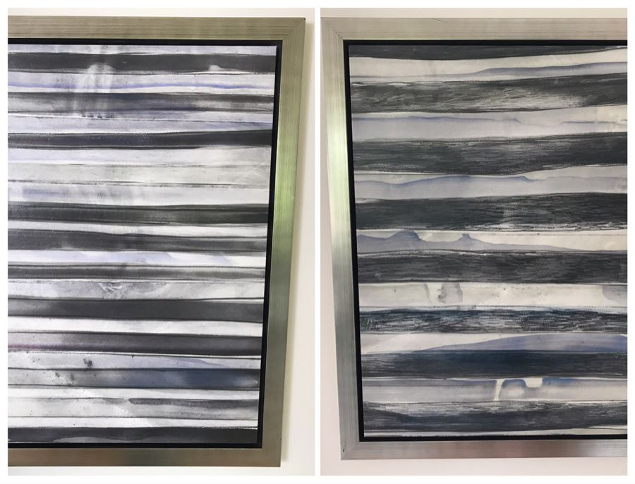 Pair Of Borderlines V Canvas Prints With Wooden Silvered Frame 24 X 30 [Photo 1]