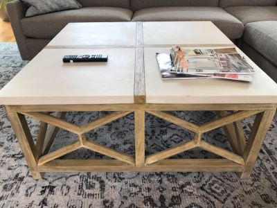 Wood And Marble Coffee Table By The Uttermost Co 40 X 40 X 18