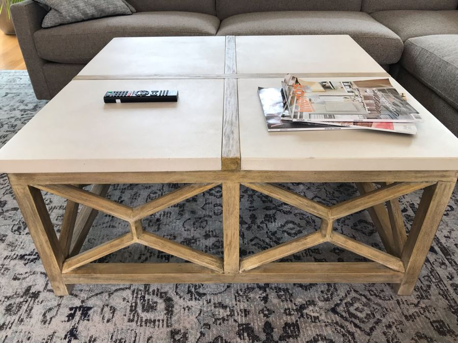 Wood And Marble Coffee Table By The Uttermost Co 40 X 40 X 18 [Photo 1]