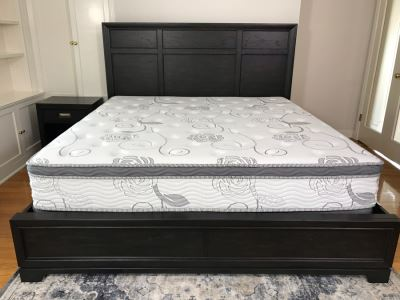 Aspenhome Black Wooden Bed With Mattress And Box Spring 80 X 76 - USB Ports On Both Sides Of Headboard