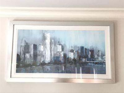 Modernist Impressionist Cityscape Skyline Print In Silvered Frame