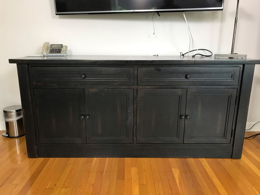 Restoration Hardware Black Wooden Credenza Cabinet 72W X 21D X 31H [Photo 1]