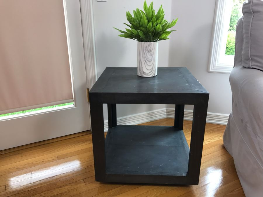 Restoration Hardware La Salle Metal-Wrapped Side Table With Decorative Vase 22 X 22 X 23H [Photo 1]