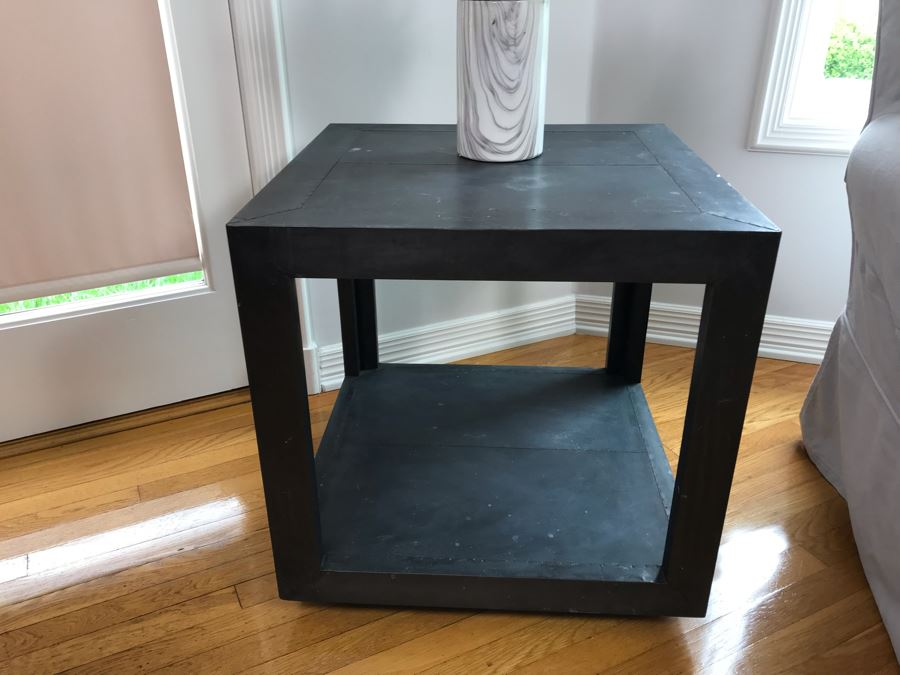 Restoration Hardware La Salle Metal Wrapped Side Table With