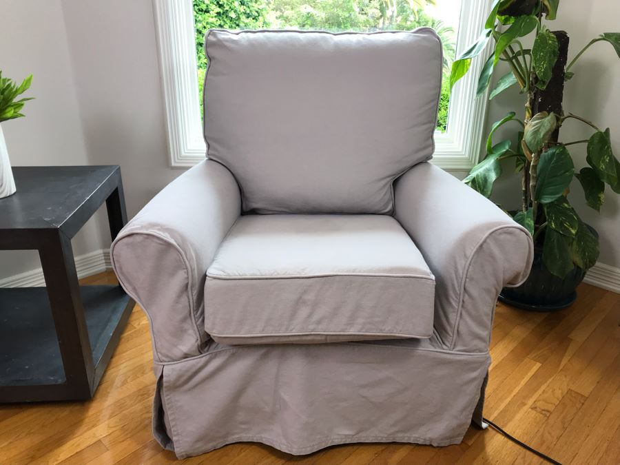 Pottery Barn Swivel Rocker Armchair With Slipcover