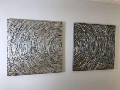 Pair Of Canvas Swirl Circle Prints 40 X 40 Each