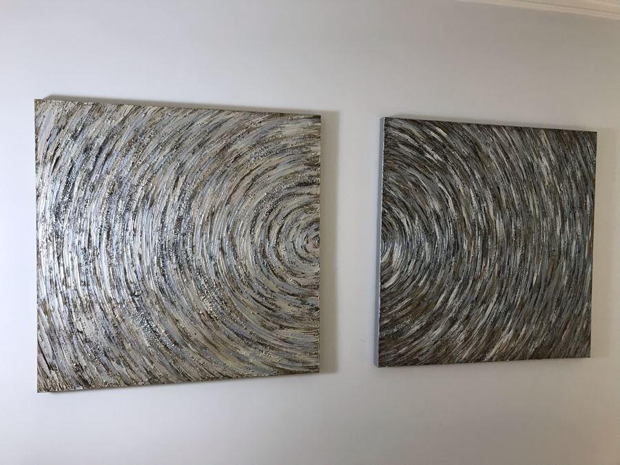 Pair Of Canvas Swirl Circle Prints 40 X 40 Each [Photo 1]