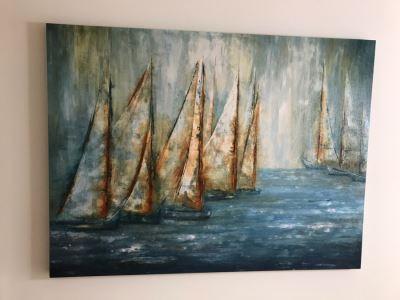 Canvas Sailing Sailboats Print 60 X 45