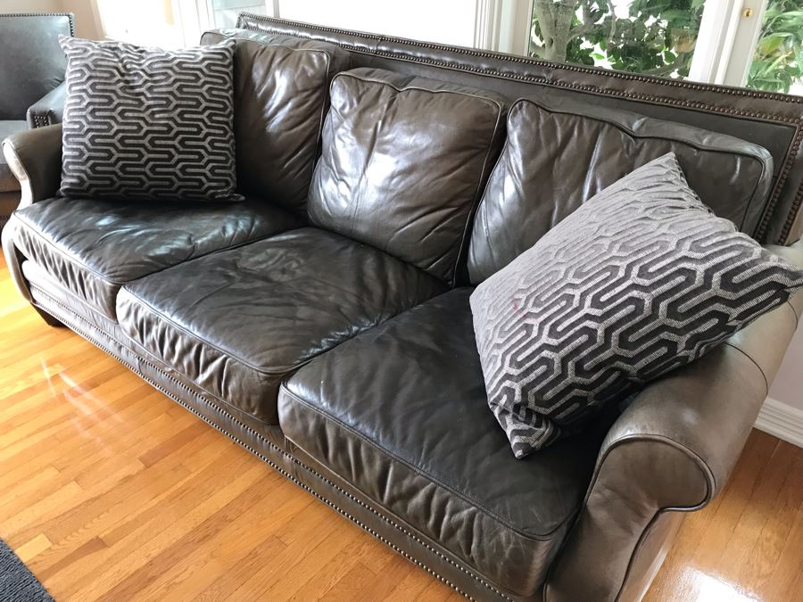 Leather Sofa With Nailheads And (2) Throw Pillows - No Furniture Label But We Believe This Is Restoration Hardware (Matches Chair) 82W X 43D X 37H [Photo 1]