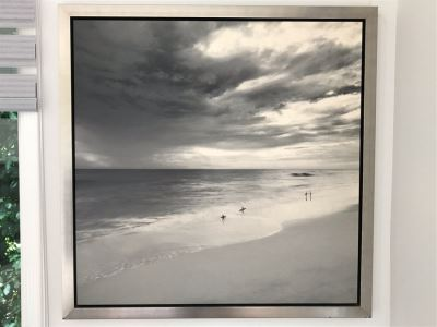 Surfers Before The Storm Canvas Print With Silvered Wooden Frame 40 X 40