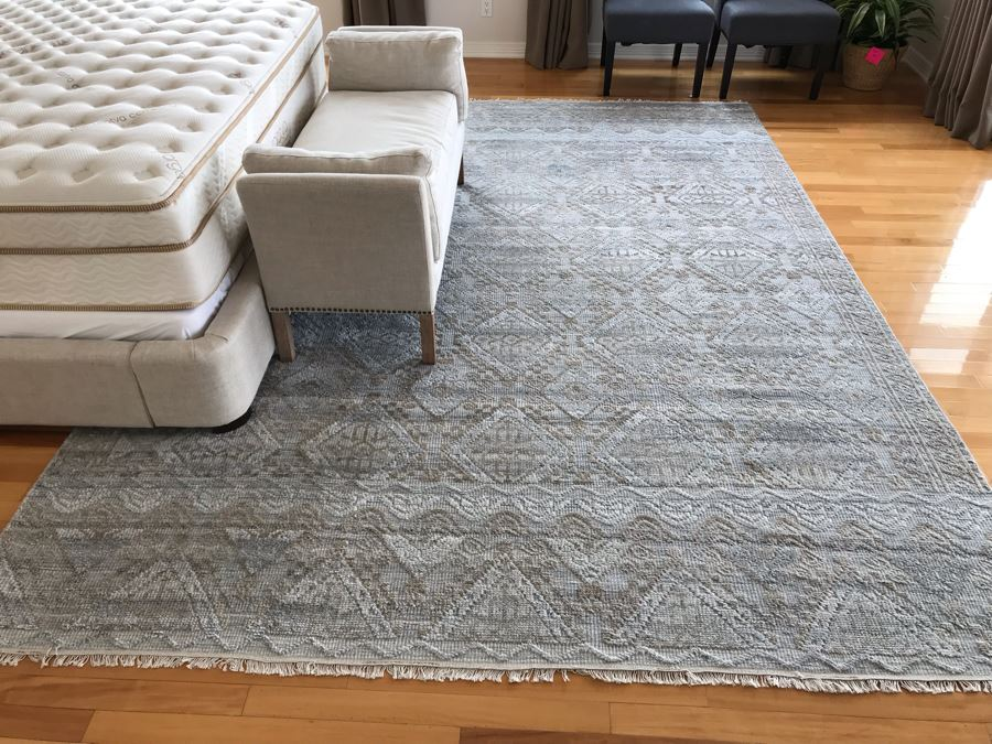 Wool Area Rug Granite Sand Color Idris Collection From India 8'5' X 11'8' [Photo 1]