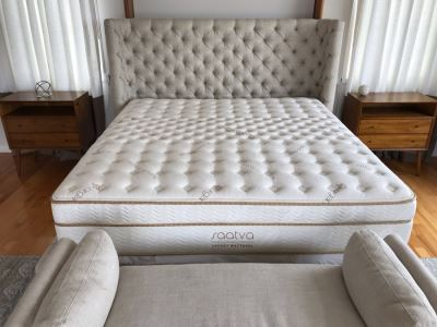 Tufted Upholstered Headboard Bed With Frame And Saatva Luxury Organic Cotton Mattress And Boxspring 82'W X 91'L X 57'H