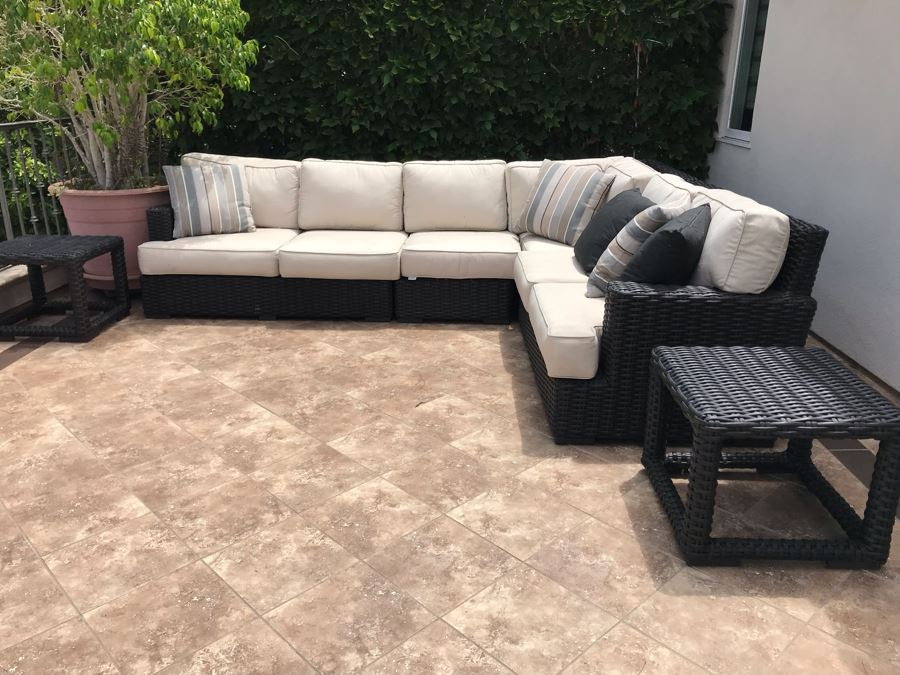 Sunset West Fine Outdoor Wicker Furniture Set With Sectional Lounge Set 120 X 92 X 40 And Pair Of Side Tables 23 X 23 X 19 Retails $4,000+ [Photo 1]