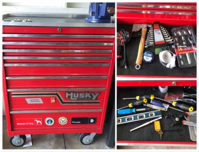 Husky Professional Tool Chest Box On Casters Filled With Tools - See Photos