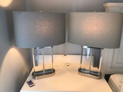 Pair Of Contemporary Glass And Chrome Table Lamps With Shades