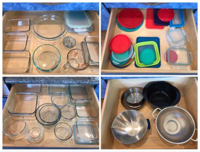 4 Drawers Of Various Glass Pyrex Baking Dishes, Tupperware, Colander - See Photos