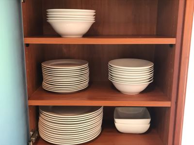 Various Gibson Home White Plates And Bowls Apx 43 Pieces (3 Shelves)