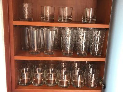 3 Shelves Of Various Glassware