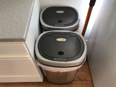 Pair Of Electronic Trash Cans