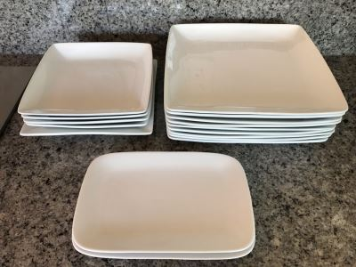 Just Added - Apx 14 White Porcelain Dishes From Better Homes And Gardens And Pair Of World Market White Trays