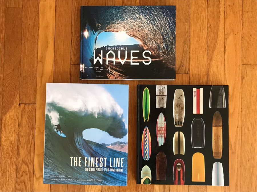 Just Added - (3) Coffee Table Books: Sealed Copy Of The Finest Line - The Global Pursuit Of Big Wave Surfing, Incredible Waves - An Appreciation Of Perfect Surf And Surf Craft - Design And The Culture Of Board Riding [Photo 1]