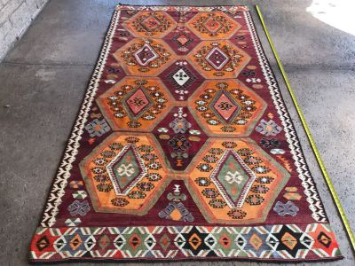 JUST ADDED - Stunning Vintage Turkish Kilim Hand Woven Rug Geometric Tribal Patterns Oranges Browns 118' X 63'