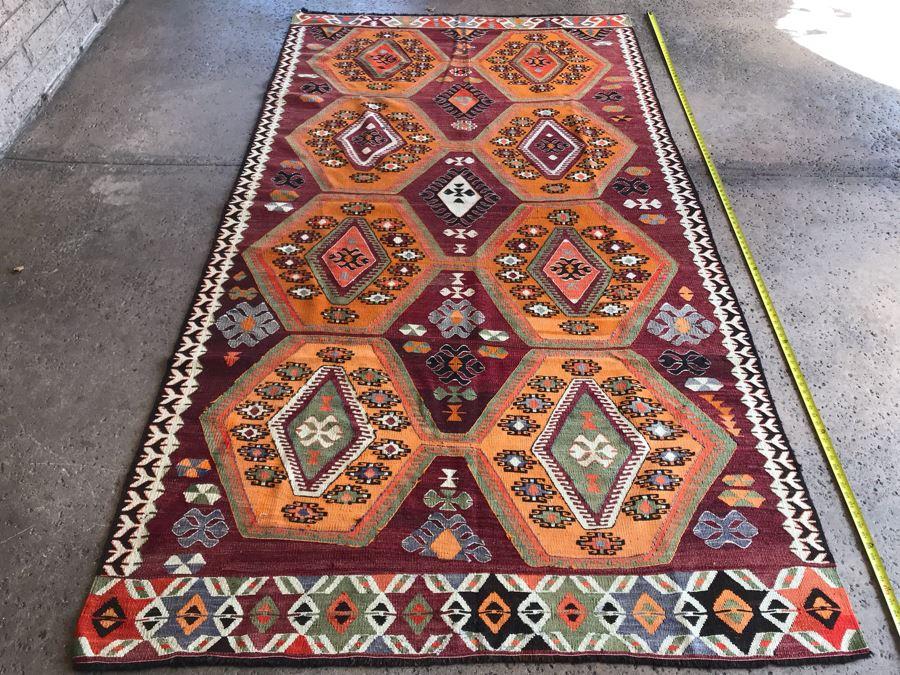 JUST ADDED - Stunning Vintage Turkish Kilim Hand Woven Rug Geometric Tribal Patterns Oranges Browns 118' X 63' [Photo 1]