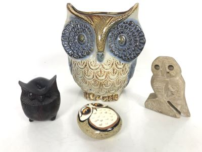 JUST ADDED - Owl Collection Featuring Carved Stone Owl, Carved Wooden Owl, Cermaic Owl Planter And Hand Painted Rock