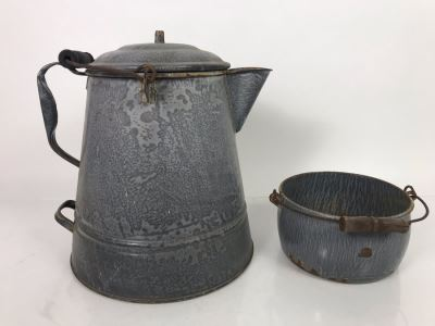 JUST ADDED - Vintage Enamel Graniteware Coffee Pot And Handled Pot