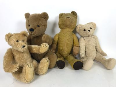 JUST ADDED - Jointed Stuffed Teddy Bear Lot Featuring Two Older Bears